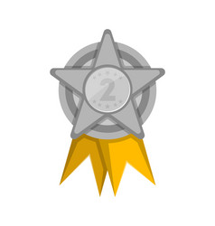 Second place silver medal icon vector