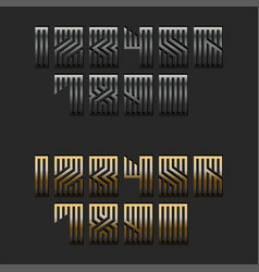 set metallic numbers monogram for modern vector image