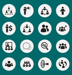 set of 16 editable cooperation icons includes vector image