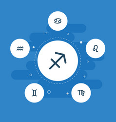 Set of astrology icons flat style symbols with vector