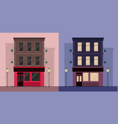set of flat by irish pub day and night vector image