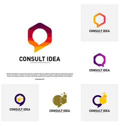 Set of modern hexagon business consulting agency vector