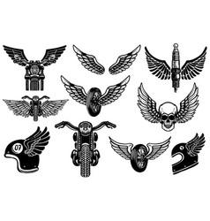 set of motorcycle design elements for logo label vector image