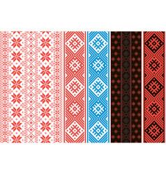 set slavic ornaments ribbons for belts and vector image