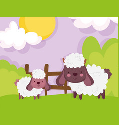 Sheep wooden fence grass sky farm animals vector