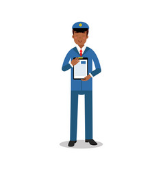 Smiling postman in blue uniform holding clipboard vector