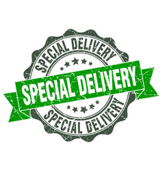 special delivery stamp sign seal vector image