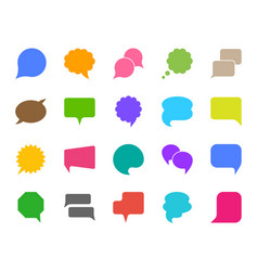 speech bubble color silhouette icons set vector image