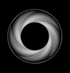 Spiral ring in shades of grey on black background vector