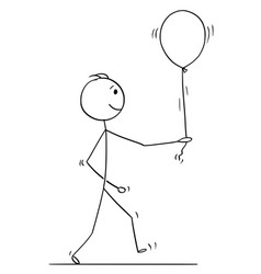 stick character cartoon of man walking with vector image