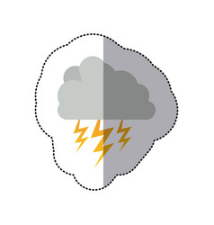 Sticker cumulus cloud with storm and thunder vector