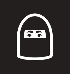Style black and white icon arab woman vector