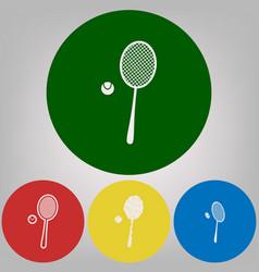 Tennis racquet with ball sign 4 white vector
