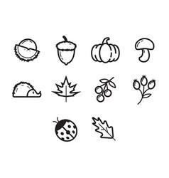 Thin line autumn season icon set vector