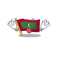 Tongue out cartoon flag maldives in with mascot vector
