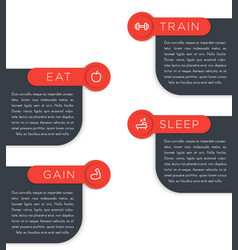 Train eat sleep gain labels banners vector