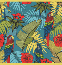 tropical plants and parrots seamless pattern vector image
