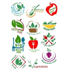 Vegetarian health food abstract design elements vector image