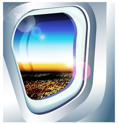 view from a plane window over the city vector image