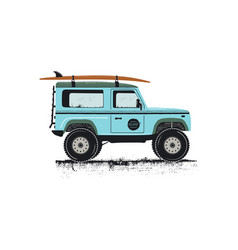 vintage hand drawn surf car retro transportation vector image