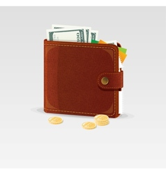 Wallet and coins isolated vector image