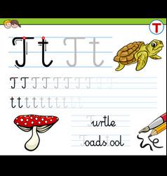 Writting letter t worksheet for children vector