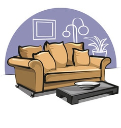 Couch with pillows and table vector