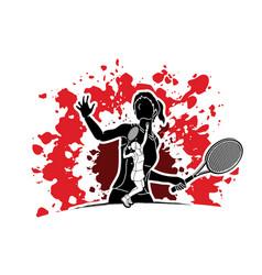 double exposure tennis player sport woman action vector image vector image