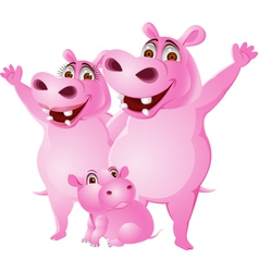 Hippo family vector image
