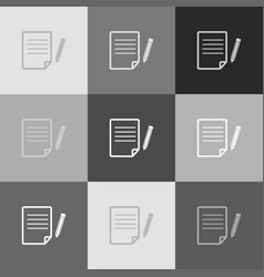 paper and pencil sign grayscale version vector image vector image
