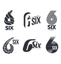 Set of black and white number six logo templates vector image vector image