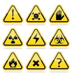 Danger risk warning modern traingle signs set vector image vector image