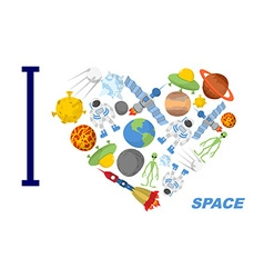 I love space Heart symbol of cosmic elements vector image vector image