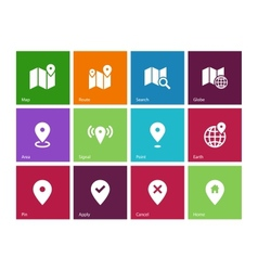Map icons on color background GPS and Navigation vector image vector image