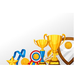 realistic gold cup and other awards background vector image