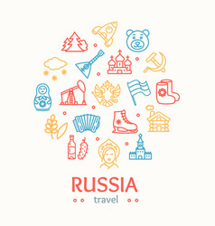 russia travel and tourism color round design vector image