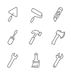 tools outline icons vector image
