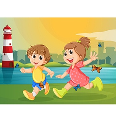 Two adorable kids running with butterflies vector image vector image