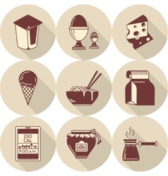 Lunch brown flat style icons set vector image vector image
