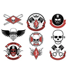 Set of biker badges and emblems vector image vector image