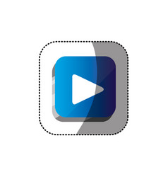 sticker color square 3d button with play button vector image