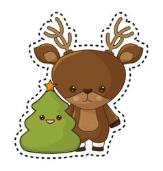 Happy merry christmas reindeer kawaii character vector