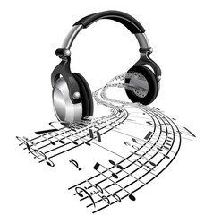 headphones sheet music notes concept vector image vector image