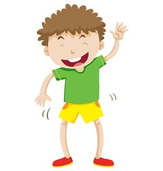 Little boy with curly hair laughing vector image