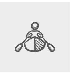 Man doing kayaking sketch icon vector image