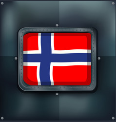 norway flag in square frame vector image vector image