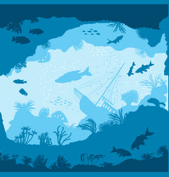 seamless pattern with fish and corals silhouettes vector image