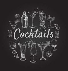 set sketch cocktails and alcohol drinks hand drawn vector image vector image