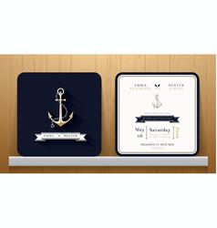 Vintage nautical anchors wedding invitation card vector