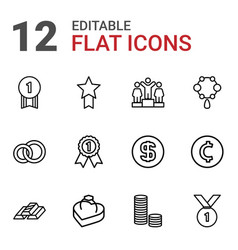 12 gold icons vector